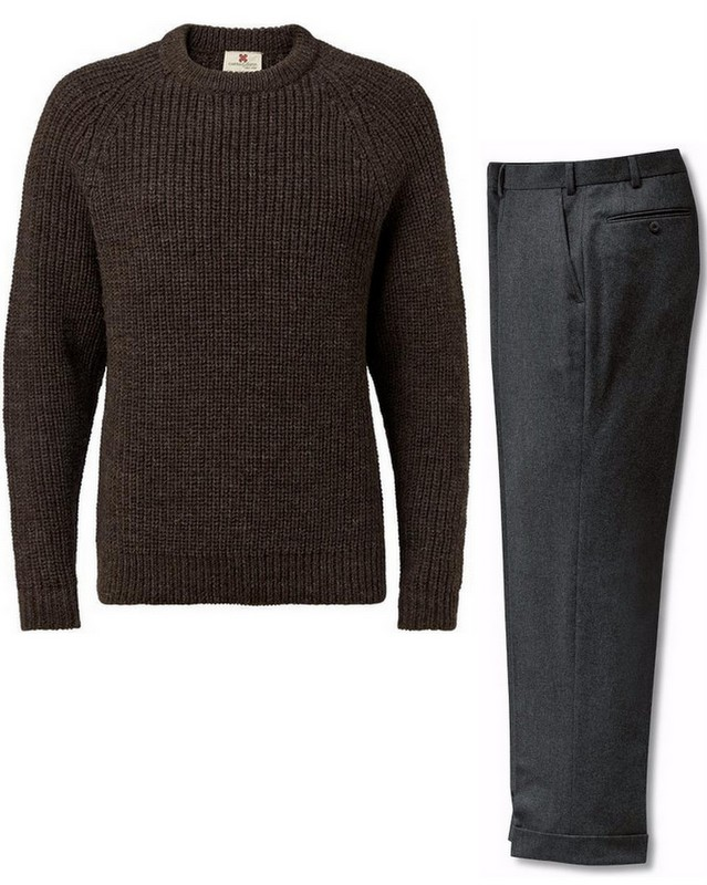Brown-knit-sweater-grey-flannel-The-Journal-of-Style