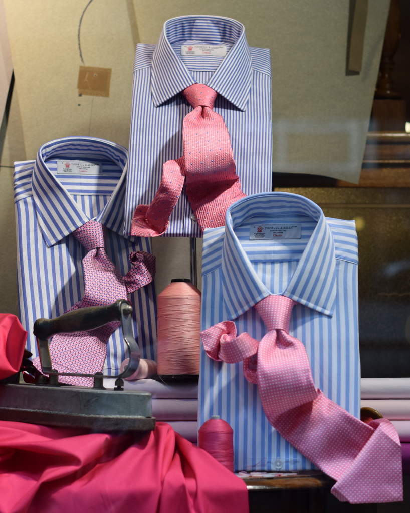 blue striped shirt and pink tie by_grunwald