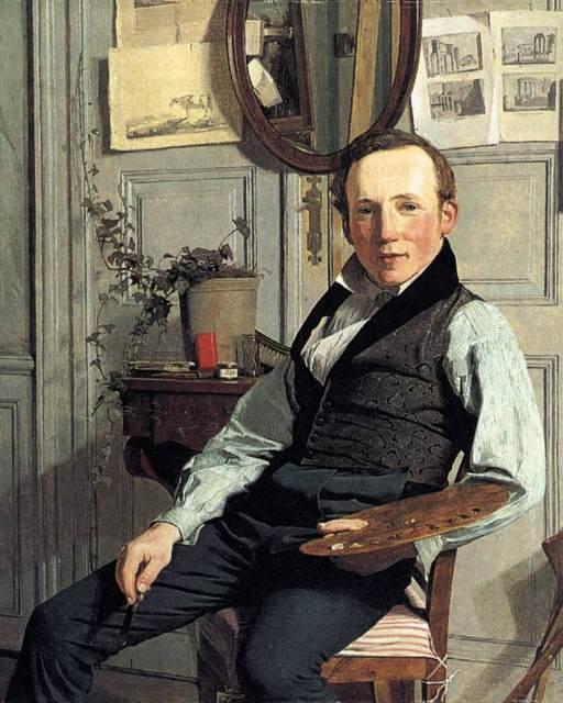Portrait-of-the-landscape painter-Frederik-Sødring-by-Købke-1832